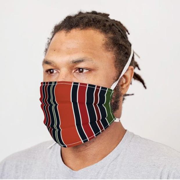 Navy Stripe Mask by Annie C Designs at Spoonflower